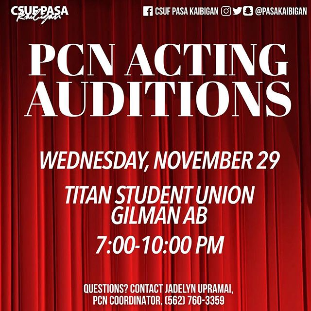 Come out to PCN auditions today at 7:00 PM! You never know what could happen - maybe YOU can be one of the stars of PCN 31! No acting experience necessary 🤗