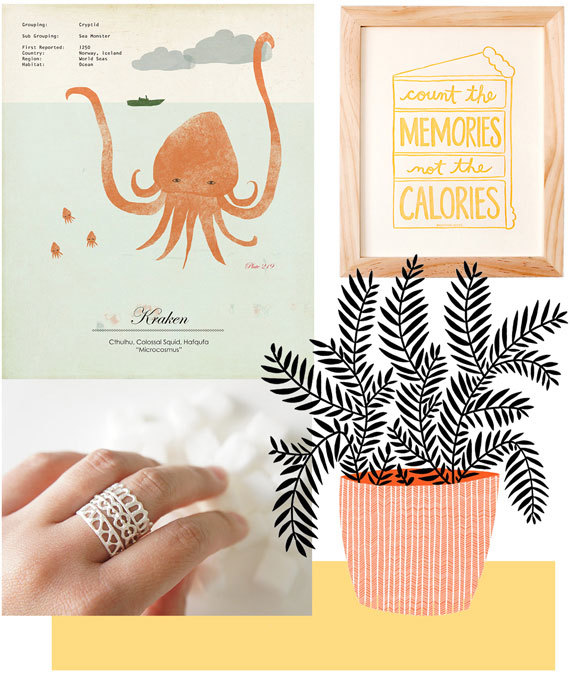 Clockwise from top left: Kraken print by Amy Sullivan; Memories Not Calories print by NourishingNotes; Pot Plant print by blackoutwell; Silver stacking rings bygemagenta. Photo via Etsy