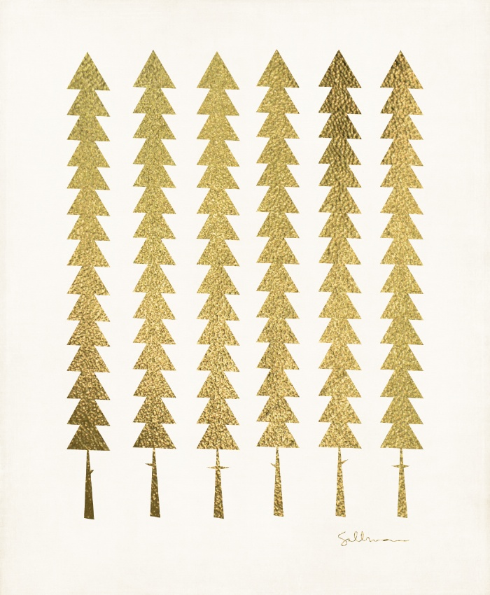 Gold Fancy Trees Illustration