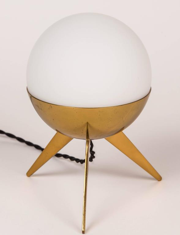 1950s stilux milano brass u0026 glass tripod table lamp