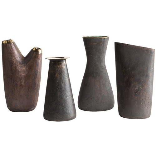 Grouping Of Four Carl Aubck Brass Vases Two Enlighten