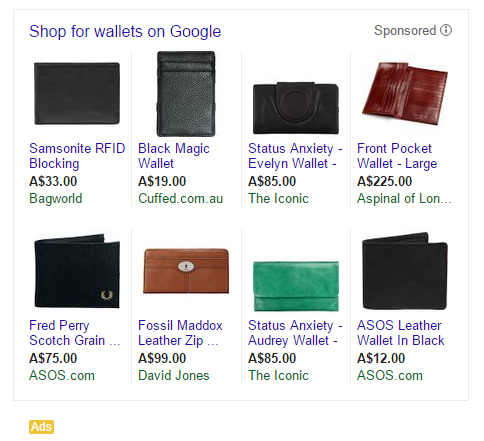 google shopping wallets