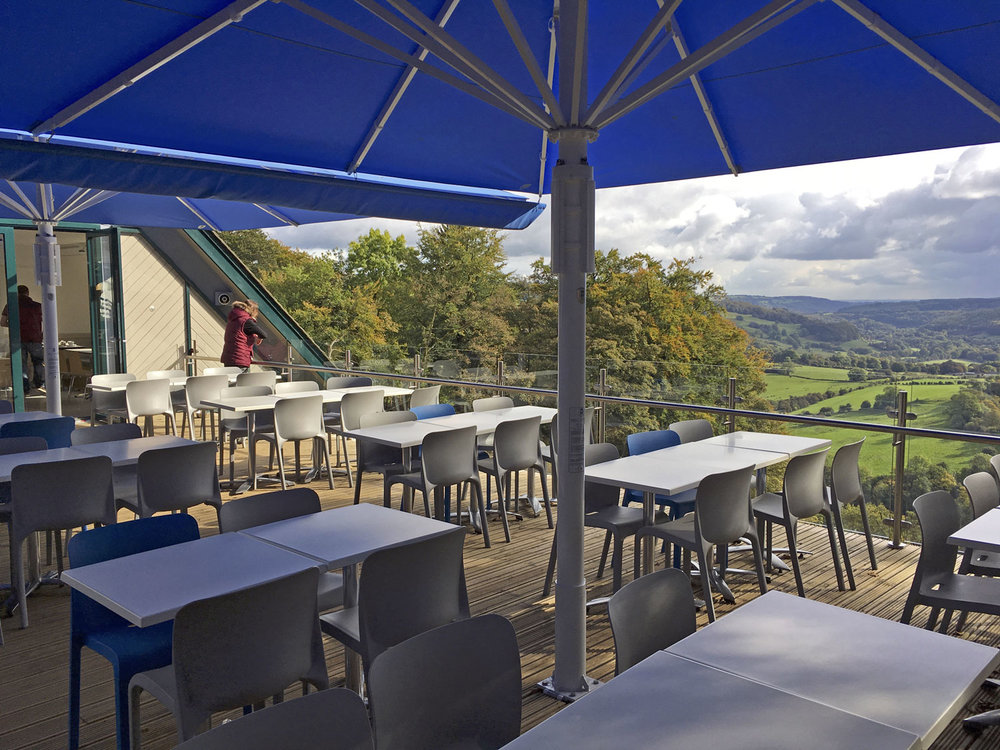 The new terrace to improve the catering operation, high above the derwent valley, Derbyshire