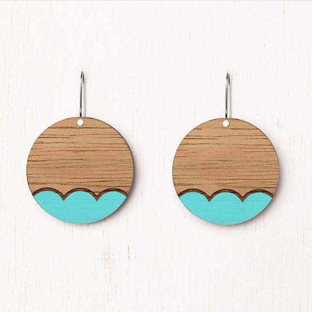 Just finished a new batch of the ~ T I D A L ~ earrings, up in the shop #aqua #woodearrings #etsy #etsyau #lasercutearrings