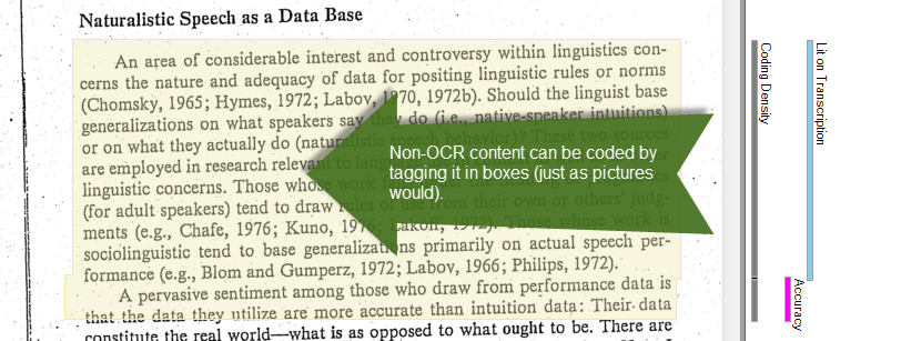 Non-OCR'd PDF file in NVIVO. File: Ochs, E. (1979). Transcription as theory. Developmental pragmatics, 10(1), 43–72.