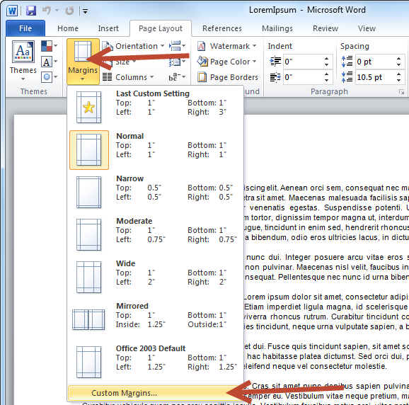 In Word, change the margins on the side in the 'Page Layout' tab, then go to 'Custom Margins'.