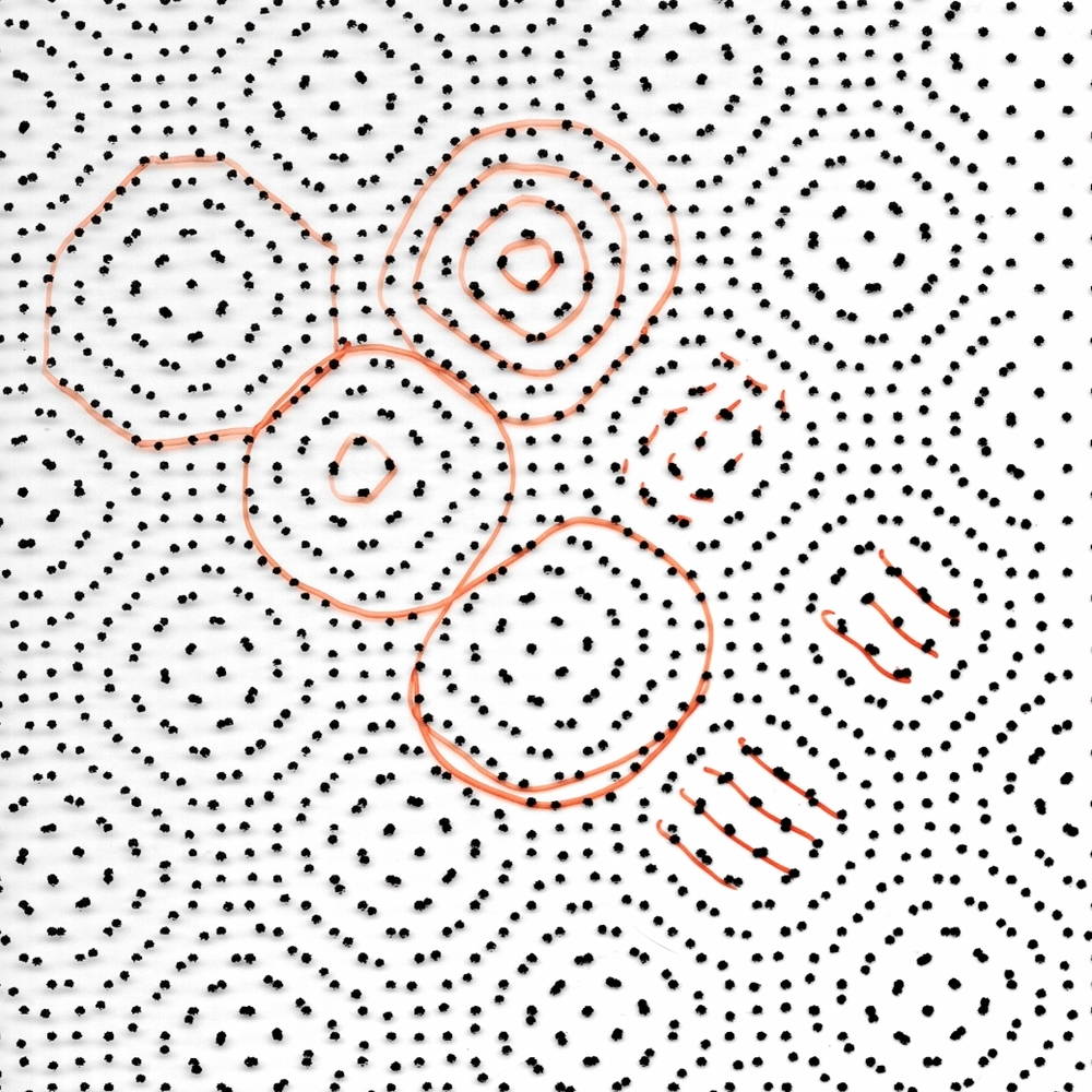 Two dot patterns intersecting