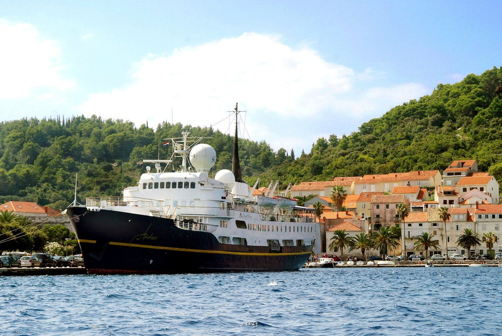 The  MV Andrea  in Croatia, now sailing as the  MV Serenissima . Photo courtesy  Leith Chamberlain