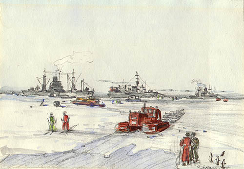 USS Arneb, USS Glacier, USS Greenville Victory and D8 Hauling Sleds during Operation Deepfreeze Watercolor & pencil, December 31, 1955, Robert C Haun