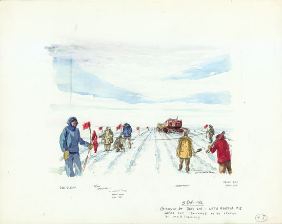 First Morning at Base Site – Little America V Watercolor, January 3, 1956, Robert C Haun
