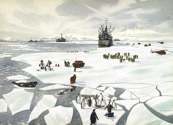 Mid-Summer Scene, McMurdo Sound Watercolor on paper, 1956, Standish Backus