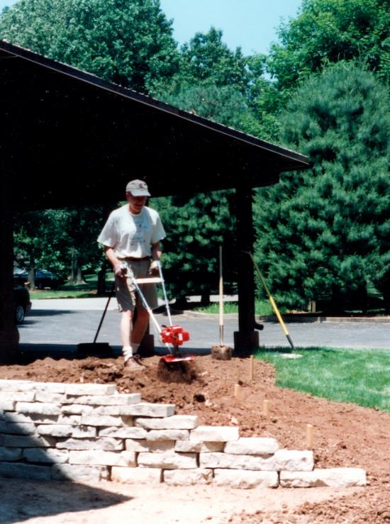 Backfilling the new wall at our St. Louis house, 1998.