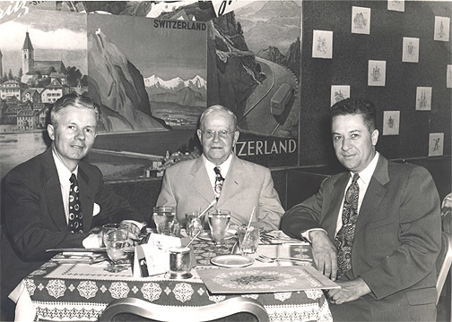 Uncle John Russell, Edward and Al Wellmeier (my dad) at a Chicago restaurant, mid-1950s.