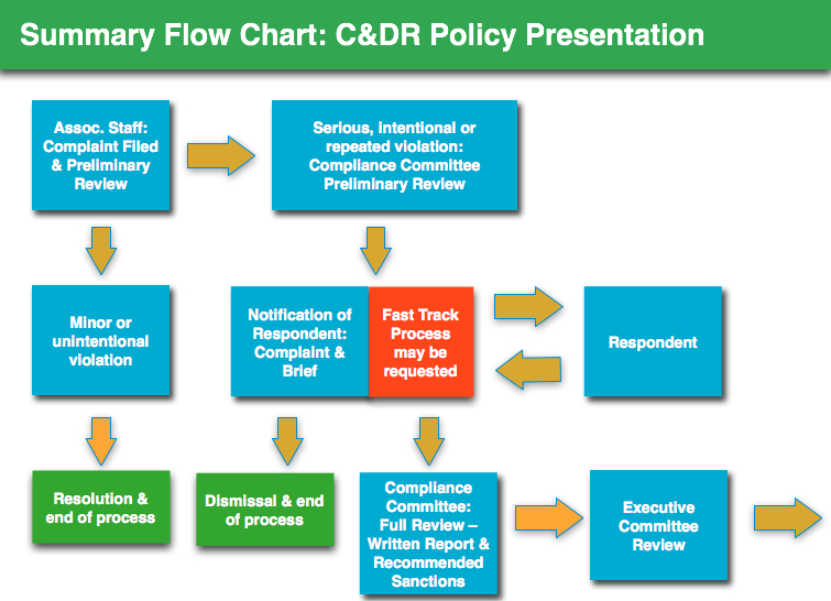 Sample executive summary flow chart for presentation to association members