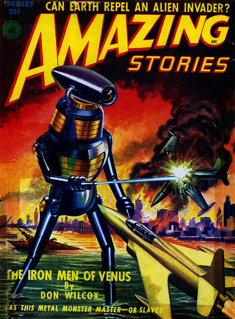 If you've enjoyed looking at these pulp science fiction covers from the 50s as I have,  you can find a lot more here.  Magazine image courtesy of  Flickr