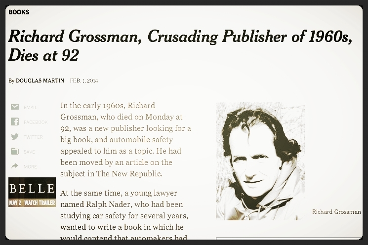 Richard Grossman obituary,  New York Times , February 1, 2014