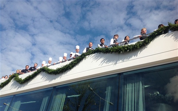 Emerald Sky  crew enjoying the christening ceremonies last week. Photo: Teresa Machan / UK Telegraph.
