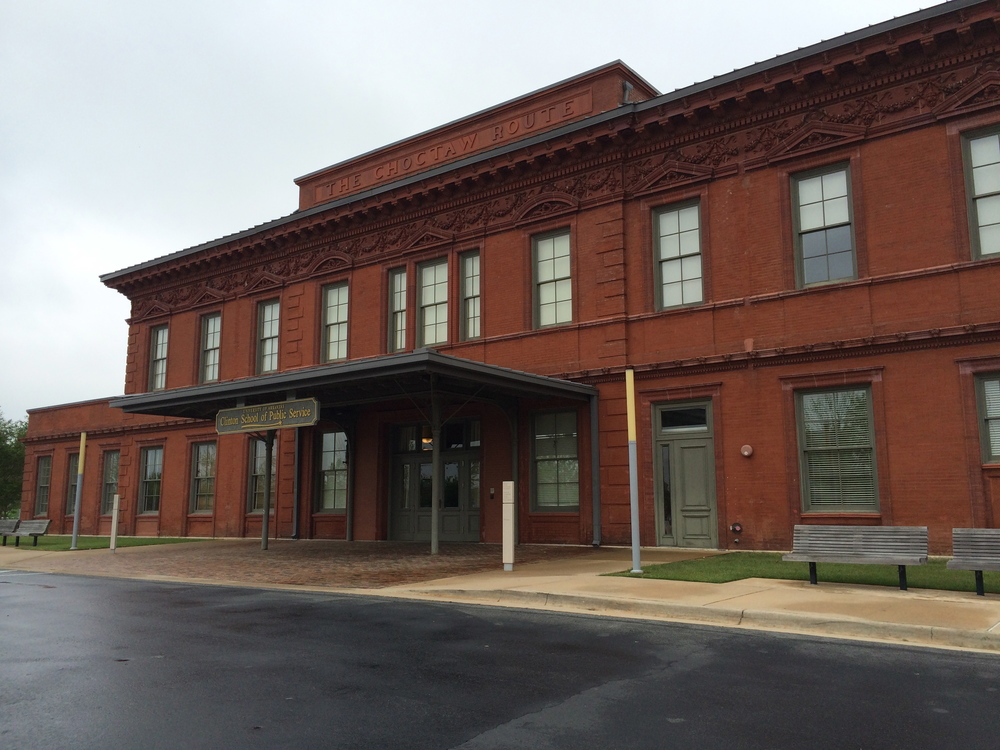 Built in 1901 for the Choctaw, Oklahoma and Gulf Railroad, the Choctaw Route Station in Little Rock is now part of the Clinton library complex. It houses the University of Arkansas Clinton School of Public Service, the Clinton Policy Institute and the Clinton Foundation. The door to the right of the main entrance led to a segregated waiting room for black travelers.
