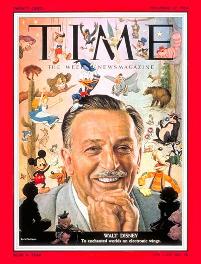 Walt Disney on cover of  Time Magazine,  August 1954. A masterful content provider who hooked us at an early age.