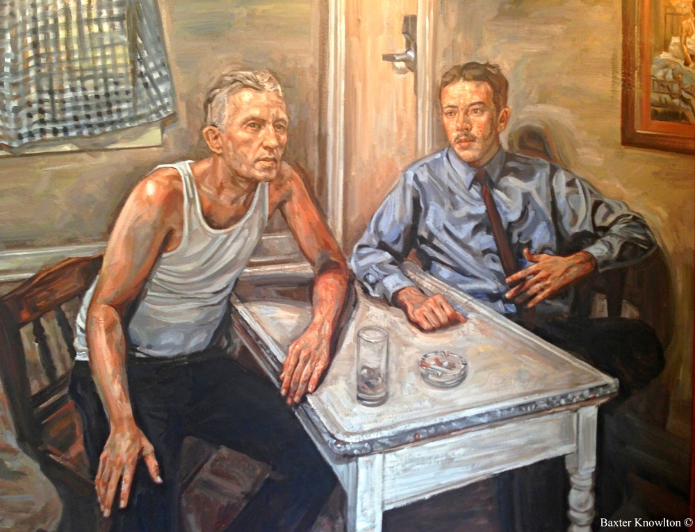 "The Wolfe Street Center is extremely grateful to our good friend and amazing artist, Baxter Knowlton. This wonderful painting depicts Bill and Ebby as they sit and discuss for the first time the ""spiritual solution"" to Bill's alcoholism. Baxter's painting hangs in the front foyer of the WSC and will welcome those seeking a new way of life for years to come. To read more about this pivotal moment in the history of recovery, click here."