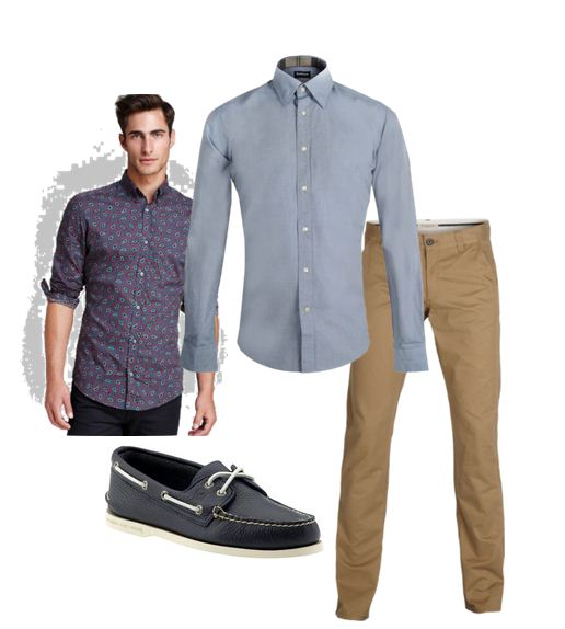 Above: Liberty of London micro-print shirt, Sperry boat shoes, Barbour chambray shirt and Selected chinos
