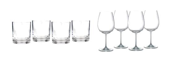 Waterford Marquis vintage set & Riedel red wine glasses.