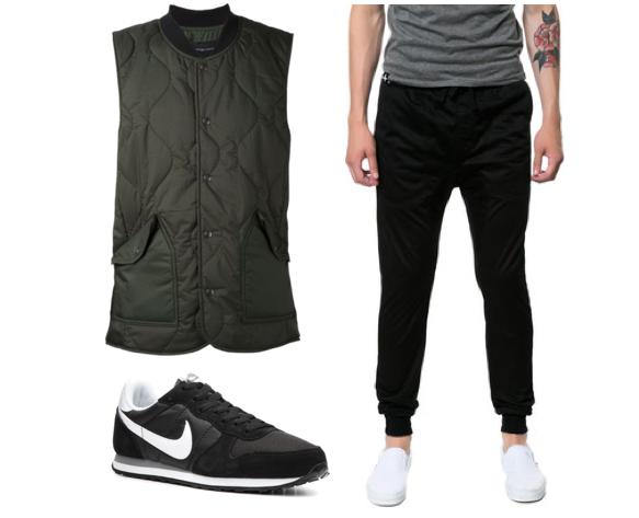 Sneakers: Nike Gennico Retro, Vest: Wings + Horns, Joggers: Zanerobe
