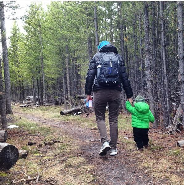 Hiking with my son in Yellowstone National Park