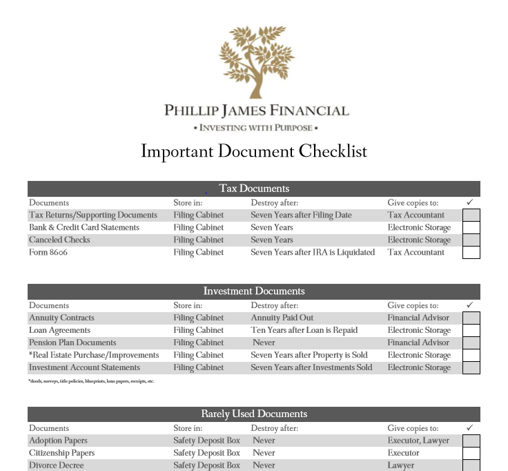 Financial Document Storage Checklist