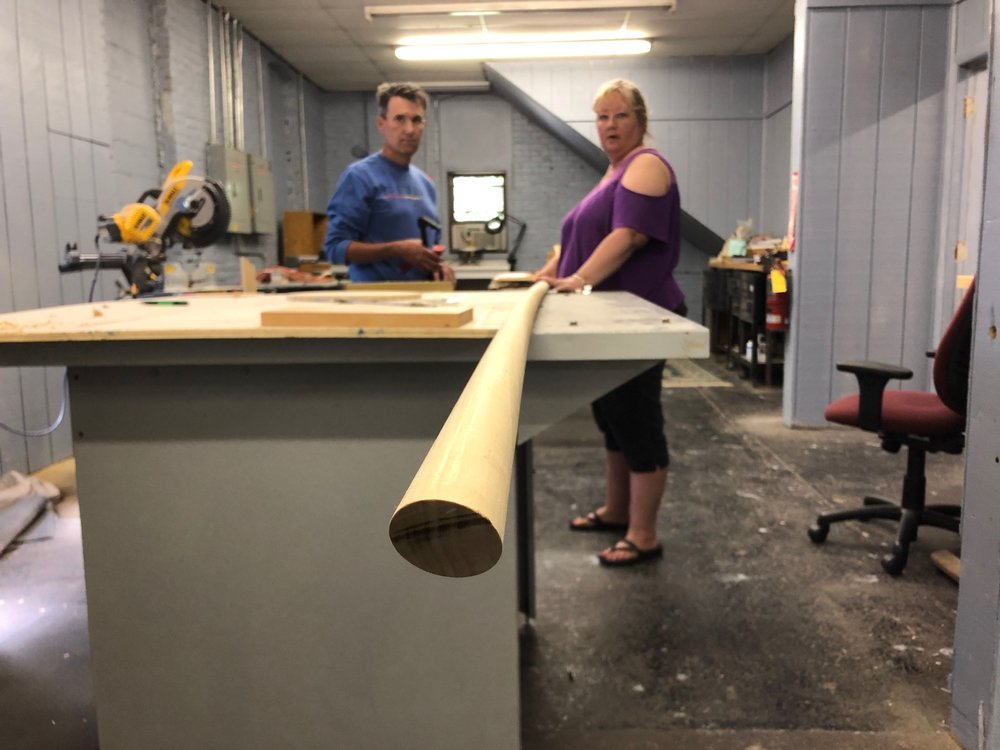 Woodshop Space - The woodshop is currently outfitted with: table saw, mitre saw, scroll saws, router, router table, jointer, planer, lathe, and a variety of small hand and carving tools.