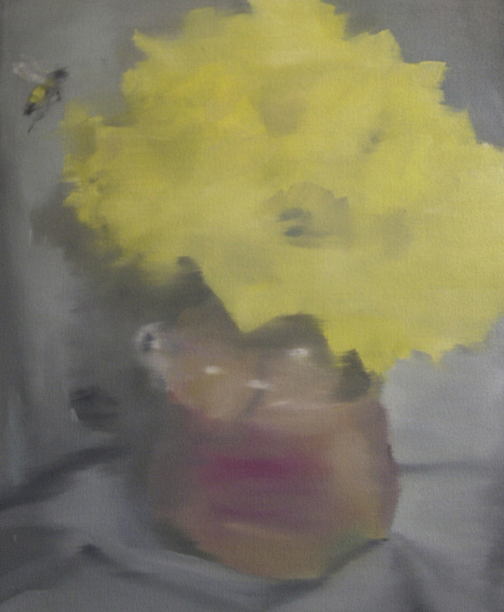 Bee Seduced by Flowers in a Vase