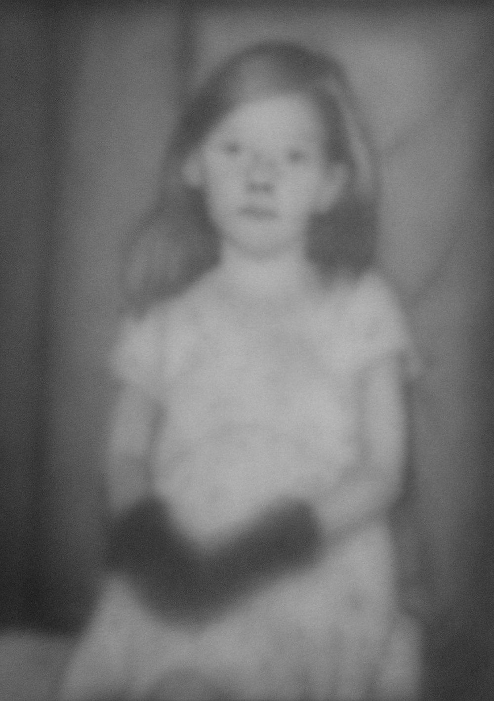 Little Girl Wearing Black Gloves