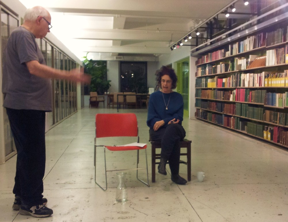 George Bartnieff  giving directions to Karen Malpede  at the first reading of Extreme Whether, NY Horticulture Society, Dec. 2012. photo: Soraya Bourkhim