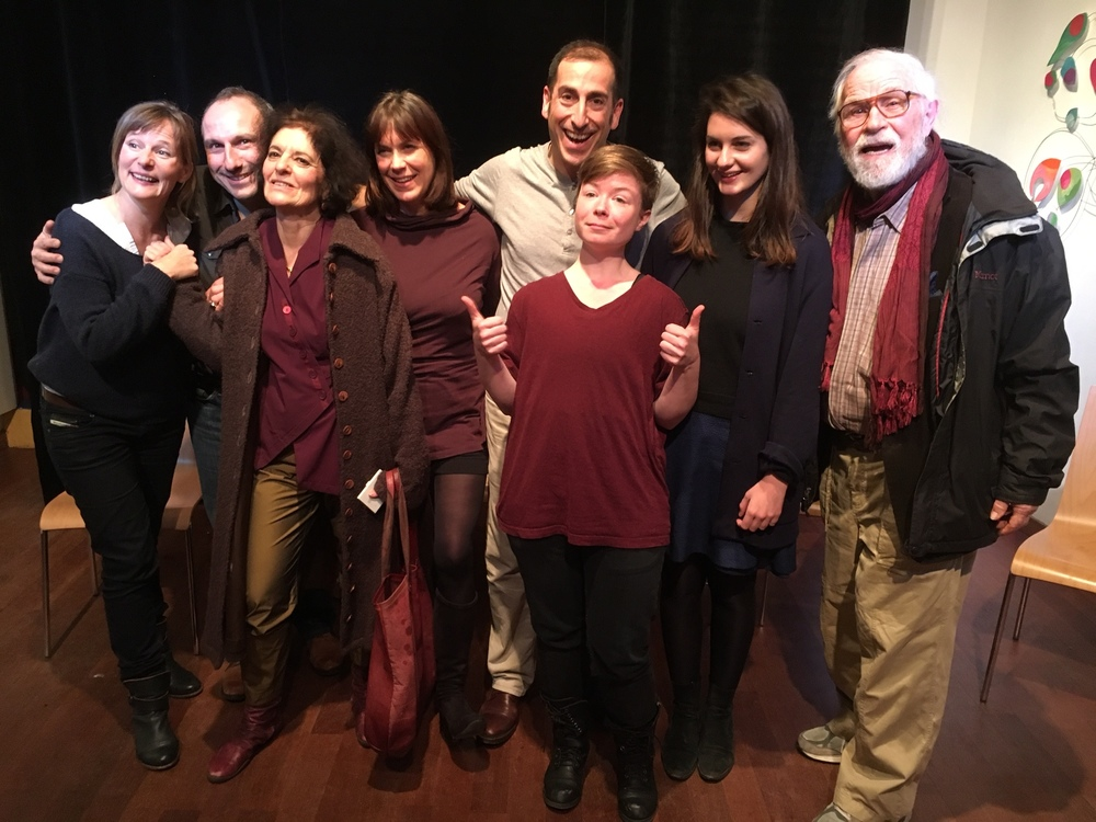 After the show (l. to r.) Nathalie Sandoz, Julien Muller, Karen Malpede, Dominique Hollier, Benjamin Knobil, Kathleen Purcell, May Royer, and George Bartenieff.