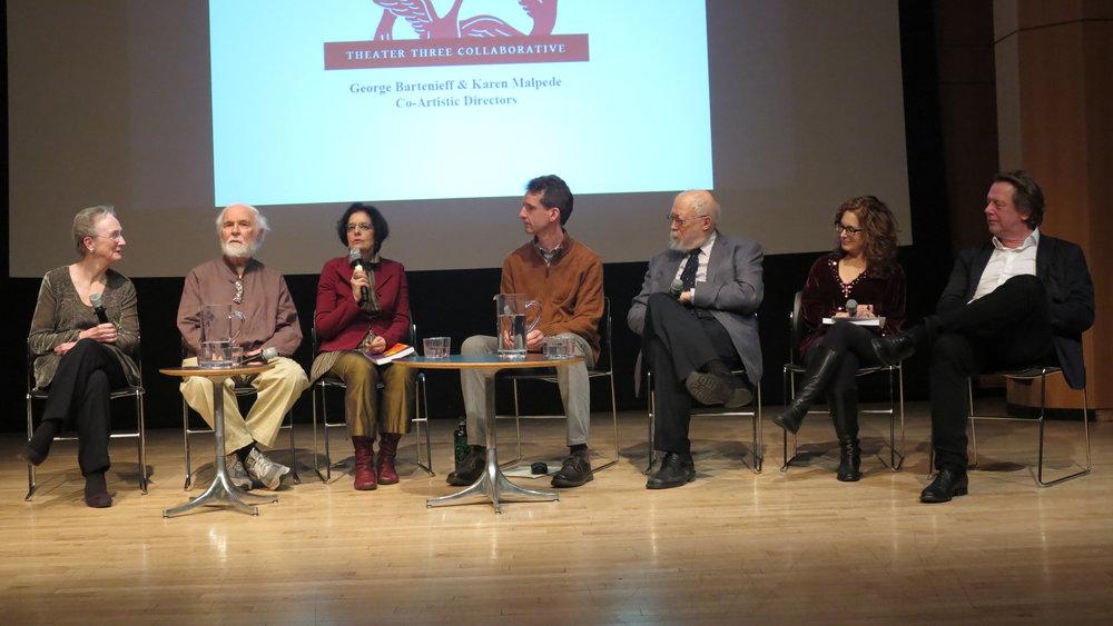 Panelists ( l to r) Kathleen Chalfant, George Bartenieff, Karen Malpede, Alexander Schlutz, Marvin Carlson, Cindy Rosenthal, moderator, Frank Hentschker.(photos by Jonathan Slaff)