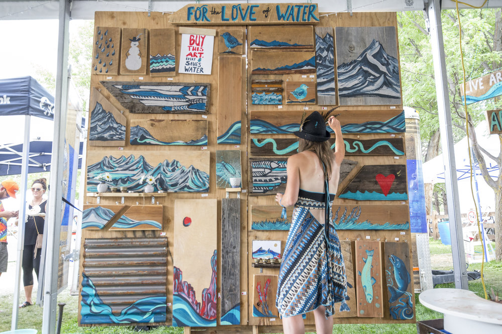 Live Art at Carbondale Mountain Fair with Roaring Fork Conservancy, raising awareness about what a healthy watershed looks like.
