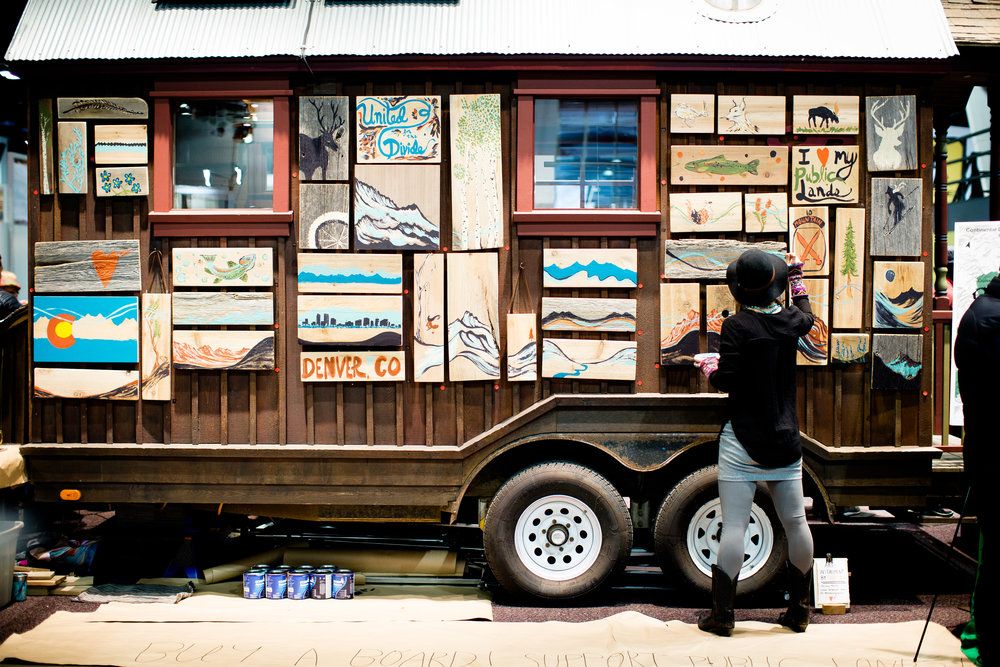 Before + After : Live Art Mural for Conservation Colorado on the Outdoor Research tiny house