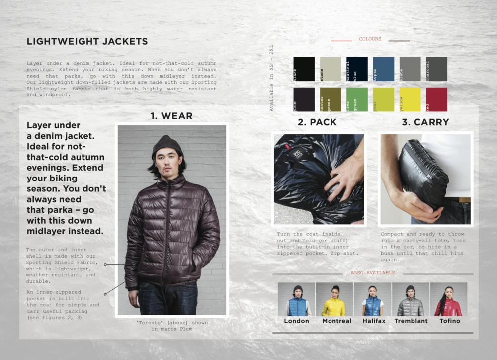 Simple instructions for packing and carrying your lightweight jacket.