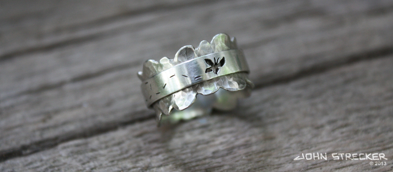Silver Butterfly Spinner Ring