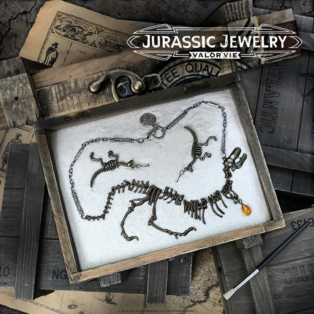 Valor Vie Jurassic Jewelry T-Rex Necklace Earring Set 1.jpg