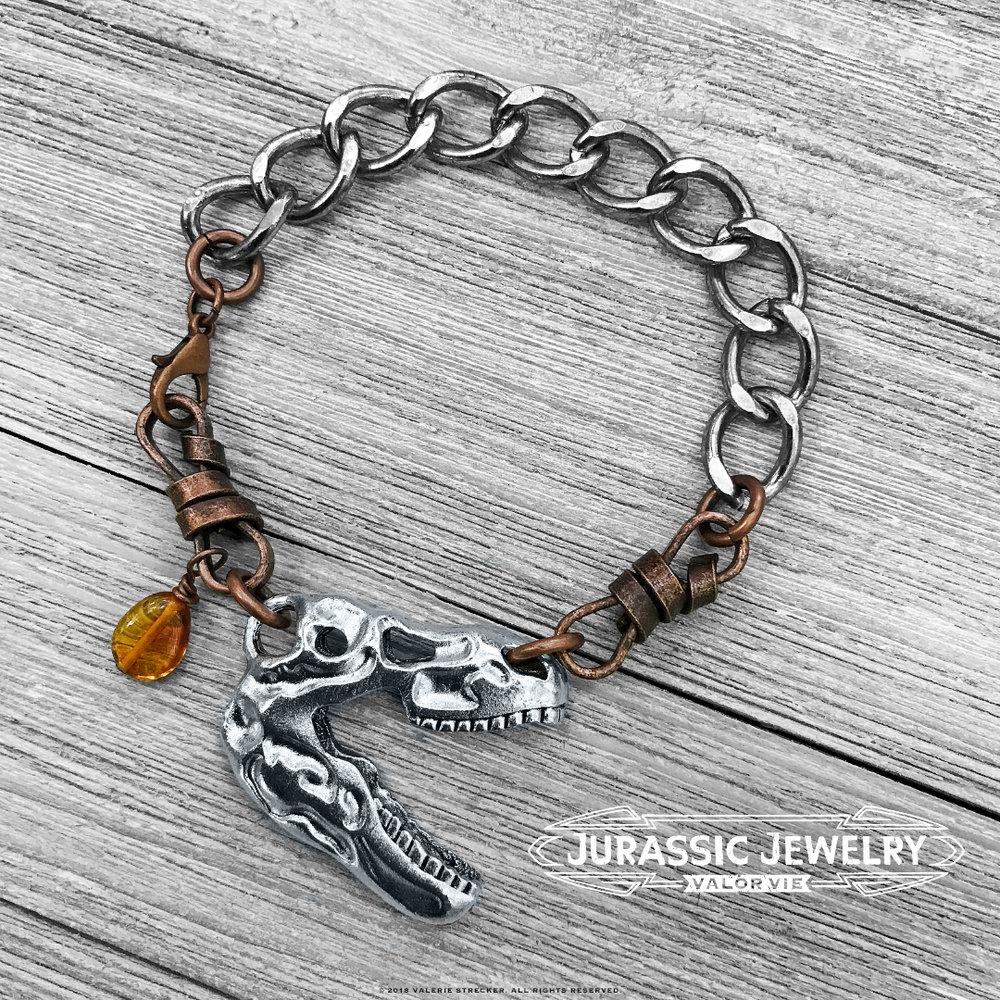 Valor Vie Jurassic Jewelry T-Rex Skull Curb Chain Bracelet 2.jpg