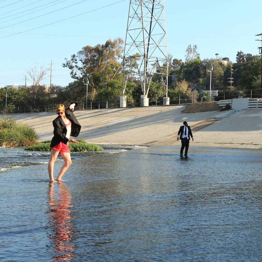 Allison Wyper + Rafa Esparza in the Los Angeles River, photo by Erika Barbosa