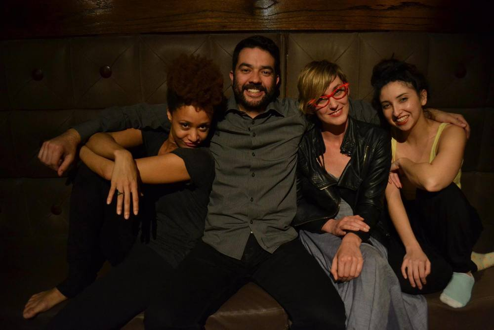 The cast of Color Outside the Lines (L to R): director/choreographer/performer Kai Hazelwood, and performers Abel Arias, Allison Wyper. and Tasheena Medina.