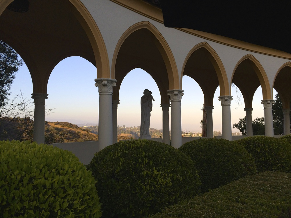 On location for the ABC Family pilot 'Recovery Road' at Mount St. Mary's College in Westwood, Los Angeles.