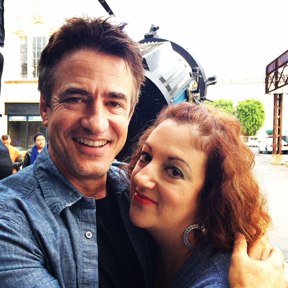 With Dermot Mulroney, behind the scenes on Shameless