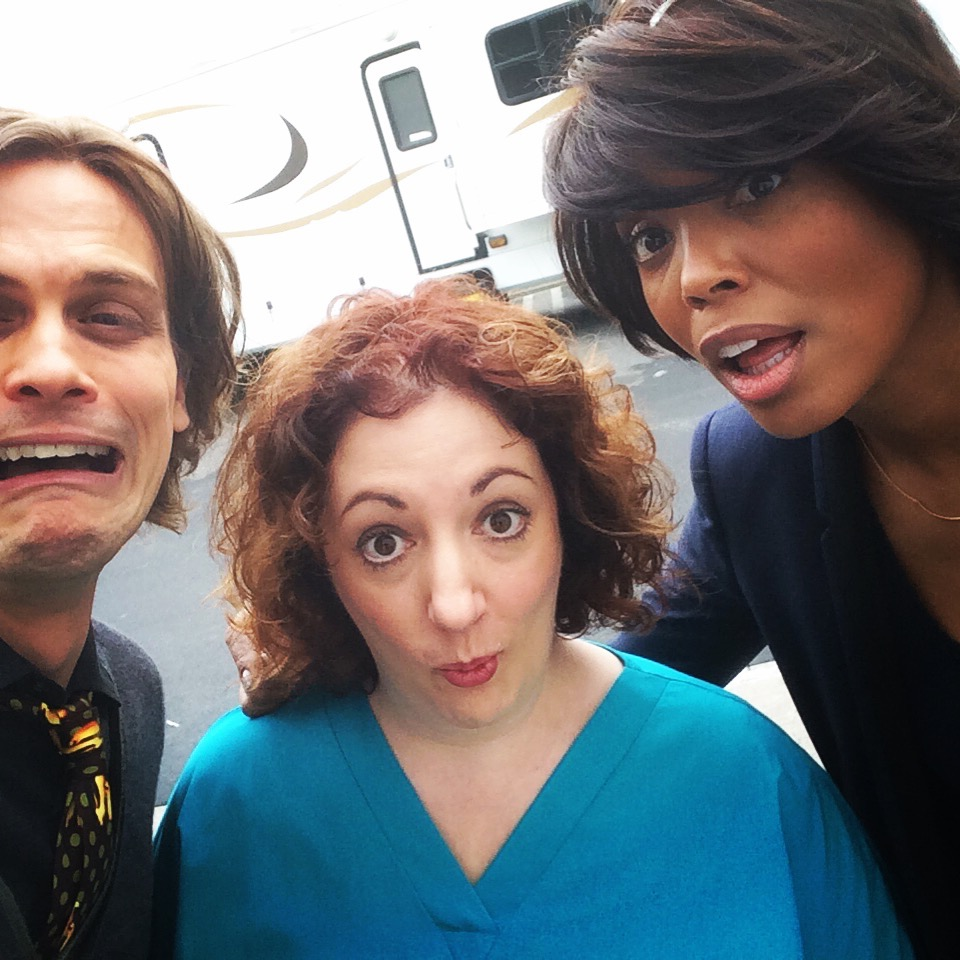 Goofing off w/ Matthew Gray Gubler & Aisha Tyler on Criminal Minds