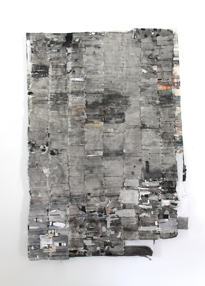 Second Row Left, Second In (verso),   2014,   paper collage,   58 x 42 x 4 in.
