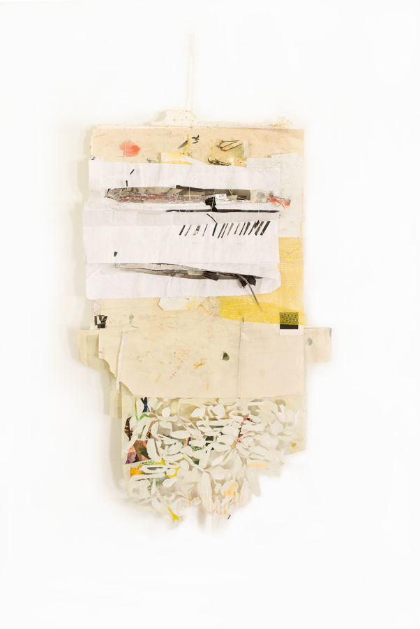 Top Drawer Notes,  2014, paper, polyester foam, cotton, plastic, foil, 33 x 22 x 3 in.