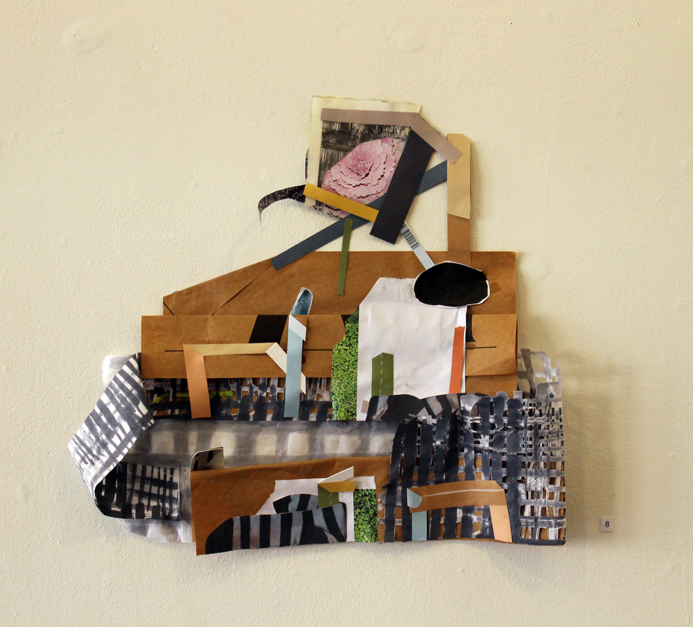 Cauliflower Barge,  Harriet Hoover & Amy S. Hoppe, 2015, acrylic paint, gouache, digital print, magazine cutout, and paper