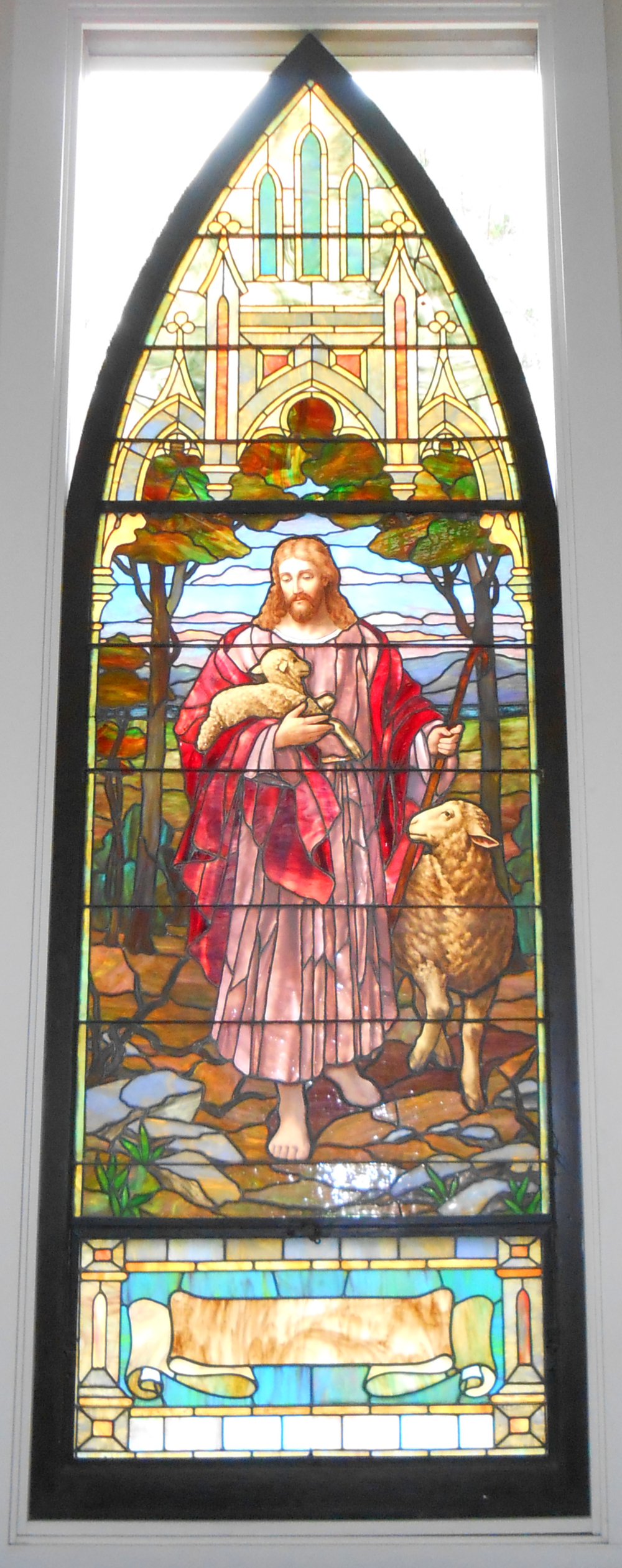 The Good Shepherd window is the largest window we received from Capitol Street United Methodist Church in Jackson.  It is placed in the sanctuary directly behind the altar.